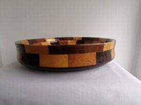 Dice-ware marquetry wooden fruit bowl - vintage