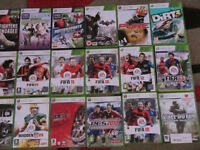 25 X XBOX 360 GAMES. STEERING WHEEL AND PEDALS