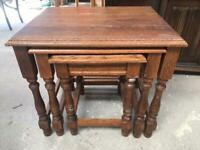 Solid oak nest of 3 tables FREE DELIVERY PLYMOUTH AREA