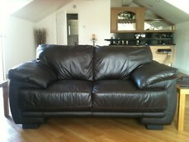 Cousins chocolate brown leather 2 seater sofa , excellent condition , as new