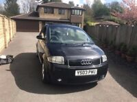 2003 Audi A2 1.4 TDI Sapphire black with Panaromic Roof cheap to tax £30and insure long MOT bargain