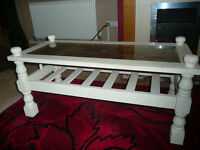 large wooden coffee table ..shabby chic style