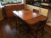 Antique Vintage 1930's Art Deco Extending Dining Table with Chairs + Sideboard