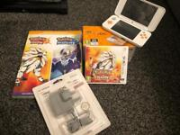 New style Nintendo 2ds XL console with Pokemon Sun game