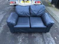2 seater sofa in black leather £110 delivered in belfast