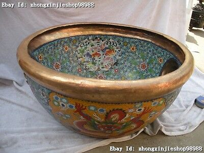Chia Royal Huge cloisonne 100% Pure Bronze gild Dragons Fish Tank crock