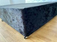 New Modern Double 4FT6 Black Crushed Velvet Divan Bed Base - 2Drawers on same side