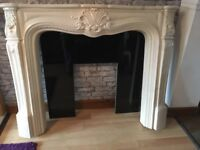 Cream Louise XIV resin fire place and surround with black granite back panel
