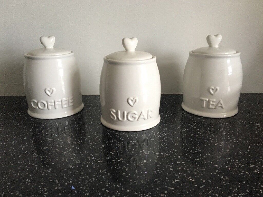 White heart Tea, coffee and sugar canisters