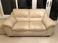 2 Seater Cream Leather Sofa with Footrest Stool