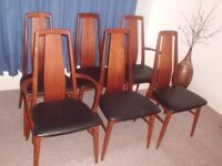 Dining chairs - Eva, set of 6 - by Neils Koefoed