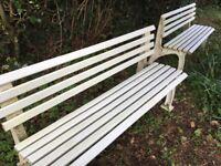 2 x white plastic garden benches
