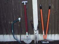 A good selection of garden hand tools .