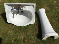 Heritage White Wash Basin & Pedestal with Gold Heritage Mixer Tap