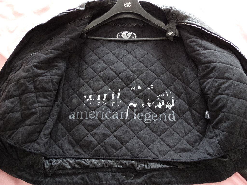 mens leather motorcycle jacket. victory