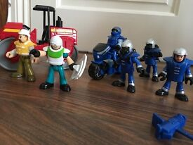 Imaginext motorbike and steamroller