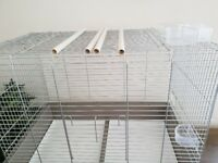 REDUCED -- big, collapsible bird cage for cockatiels etc, with 4 perches and 4 food bowls