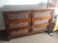 Solid wood antique wardrobe and chest of drawer