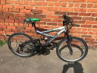 """Challenge 2x Full Suspension Mountain Bike. Nice Condition. 24"""" Wheels. Free Lock, Lights, Delivery."""
