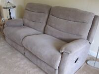 Immaculate 3 piece suite in mink draylon. Includes 3 seater recliner sofa and two armchairs.