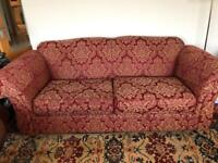 Three seat sofa and two club chairs
