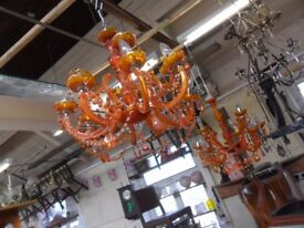 two very large 12 arm amber glass crystal style chandeliers 2 x 12 light chandeliers £85 each