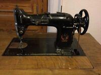 Sewing machine within integral desk, 1930s style. German L.O. Dietrich machine.