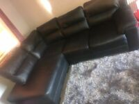 Left black leather corner Sofa