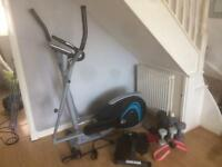Cross trainer, weights, stepper and thigh toner