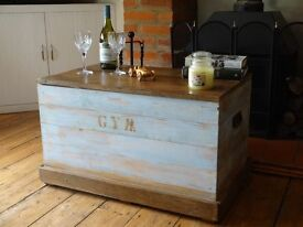 """LARGE PINE CHEST / TRUNK ~ 32"""" x 20"""" x 20"""" ~ 1940/50s"""