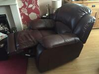 brown leather recliner 3 piece suite and chair from Harvey's.