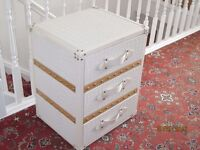 White Campaign-style 3 drawer Chest - faux leather & wood. As New