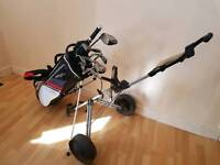 Full set golf clubs with bag and trolley top end driver