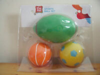 NEW in unopened packaging - set of 3 Play Day sports balls. Ages 4+. £4 ovno.