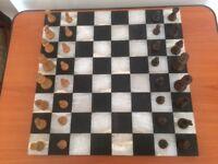 "Onyx/marble chess set 14"""