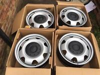 "4x BRAND NEW 17"" Genuine VW Transporter T6 T5 wheels T32 T30 alloy steel CAN POST"