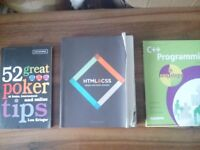 Collection of 3 Books - Poker Tips, HTML & CSS, C++ Programming