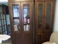 2 X BOOKCASES/GLAZED DISPLAY UNITS SOLID