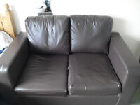 2-seater brown sofa Faux Leather