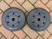 """5kg x 2 Weights Pro Fitness Brand New 1"""" hole more available £18"""