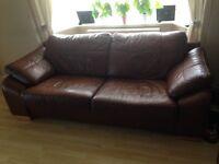 2 x 3 seater tan leather sofas