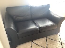 M&S 'Abbey' 2 seater black leather sofa