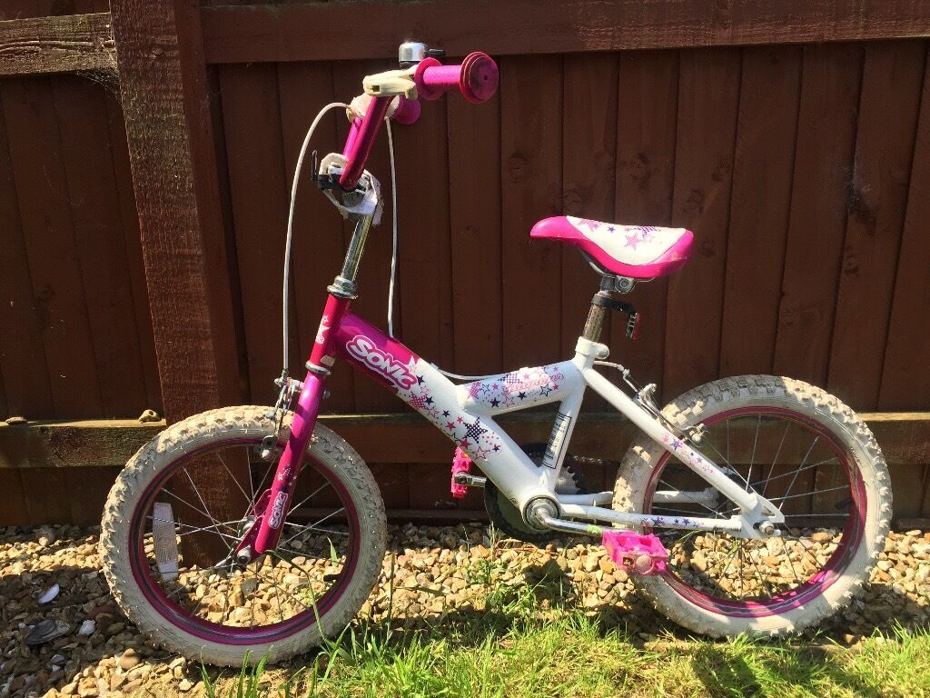 """Child's bike, need to sell this week, """"Sonic Glamour"""", for 5-6 year old, pink & white, bell,"""