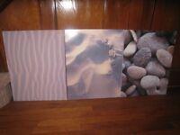 Ikea 3 Prints pebbles/sand/beach 50x40cm