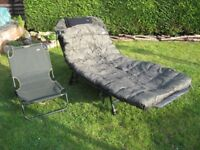 Fishing gear bed chair and chair rod pod