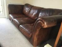 Brown genuine leather sofa