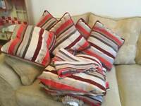 Pencil pleat curtains and 6 matching cushions