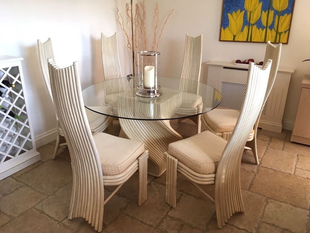 Multi York Round Glass Table With Cream Cane Six Upholstered Chairs