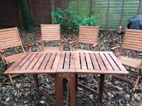 Wooden Garden Table and Chairs (x4) in Good Condition
