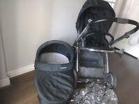 Babystyle Oyster Pushchair and carrycot Parent Facing option Black with mirror frame